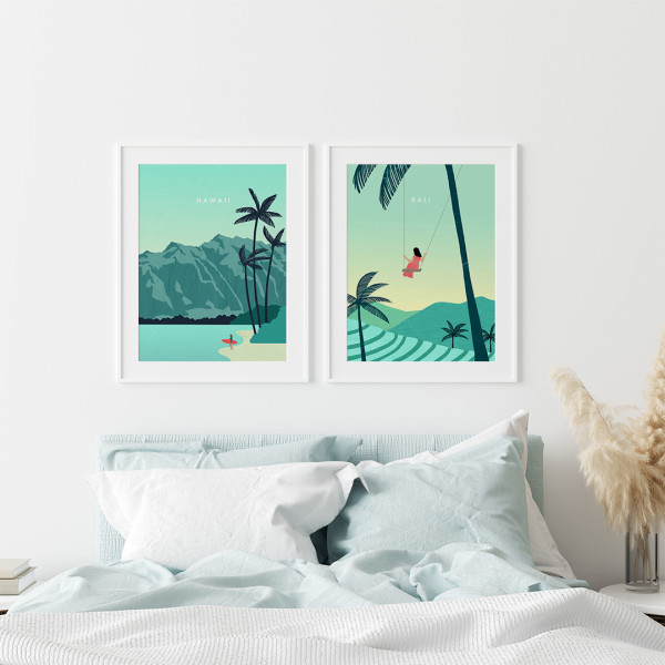 Hawaii Bali Poster Set