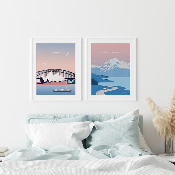 Sydney Neuseeland Poster Set